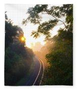 Rail Road Sunrise Fleece Blanket