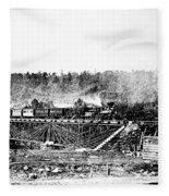 Railroad Bridge, 1858 Fleece Blanket