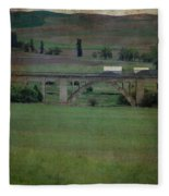 Railroad Bridge At Rosalia Texture Fleece Blanket