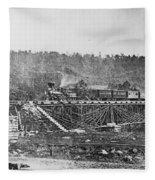 Railroad Bridge, C1860 Fleece Blanket