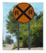 Railroad Crossing Sign Fleece Blanket