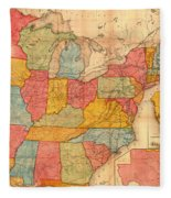 Railroad Map Of The United States 1852 Fleece Blanket