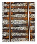 Railroad Track With Gravel 2 Fleece Blanket