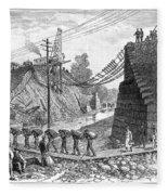 Railroad Washout, 1885 Fleece Blanket