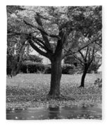 Rain And Leaf Ave In Black And White Fleece Blanket