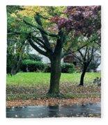 Rain And Leaf Ave Fleece Blanket