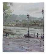 Rain In Lewiston Waterfront Fleece Blanket