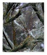 Rain On Pine Needles Fleece Blanket