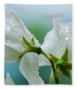 Rain On Sweet Peas Fleece Blanket