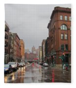 Rain On Water Street 1 Fleece Blanket
