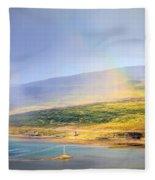 Rain Over Fjords Fleece Blanket