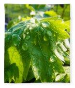 Rain Soaked Leaf Fleece Blanket