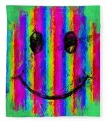 Rainbow Abstract Smiley Face Fleece Blanket