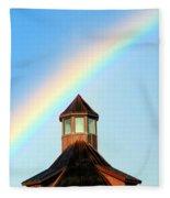 Rainbow Against Blue Sky Fleece Blanket