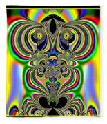 Rainbow Alien Owls Fractal 57 Fleece Blanket