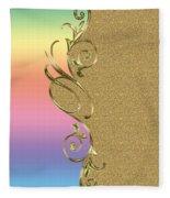Rainbow And Gold Fleece Blanket