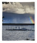 Rainbow At Burt Lake Fleece Blanket