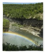 Middle Falls With Rainbow Fleece Blanket