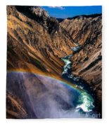 Rainbow At The Grand Canyon Yellowstone National Park Fleece Blanket