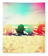 Rainbow Beach I Fleece Blanket