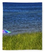 Rainbow Beach Umbrella Fleece Blanket