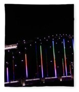 Rainbow Bridge And Super Moon Fleece Blanket