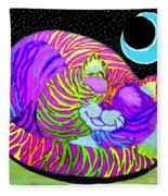 Rainbow Cat Blue Moon Fleece Blanket