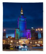 Palace Of Science And Culture In Rainbow Colors  Fleece Blanket