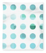 Rainbow Dots Aqua  Fleece Blanket