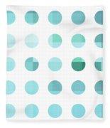 Rainbow Dots Aqua  Fleece Blanket