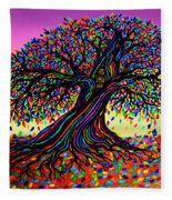 Rainbow Dreams And Falling Leaves Fleece Blanket