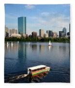 Rainbow Duck Boat On The Charles Fleece Blanket