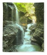 Rainbow Falls Bridge Fleece Blanket