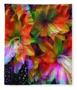 Rainbow Flowers Fleece Blanket