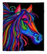 Rainbow Horse Head Fleece Blanket