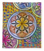 Rainbow Mosaic Circles And Flowers Fleece Blanket