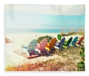 Rainbow Of Adirondack Chairs IIII Fleece Blanket