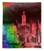 Rainbow On Chicago Mixed Media Textured Fleece Blanket