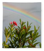 Rainbow Over Flower Fleece Blanket