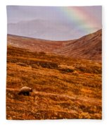 Rainbow Over Grizzly In Denali Fleece Blanket