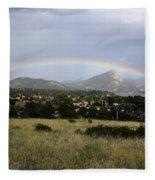 Rainbow Over Lake Estes Fleece Blanket