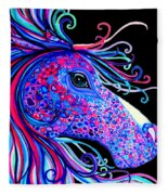 Rainbow Spotted Horse2 Fleece Blanket