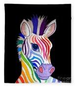 Rainbow Striped Zebra 2 Fleece Blanket