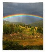 Rainbow Through The Forest Fleece Blanket