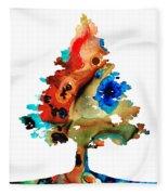 Rainbow Tree 2 - Colorful Abstract Tree Landscape Art Fleece Blanket