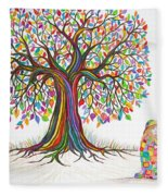 Rainbow Tree Dreams Fleece Blanket