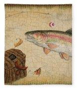 Rainbow Trout-basket Weave Fleece Blanket