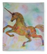 Rainbow Unicorn In My Garden Original Watercolor Painting Fleece Blanket