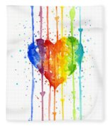 Rainbow Watercolor Heart Fleece Blanket