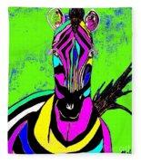 Rainbow Zebra 2 Abstract Fleece Blanket